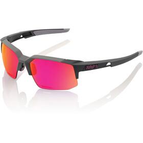 100% Speedcoupe Glasses soft tact graphite | purple mirror